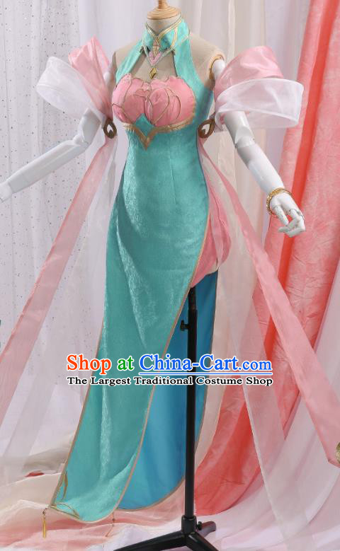 Chinese Traditional Cosplay Green Qipao Dress Ancient Swordsman Costumes for Women