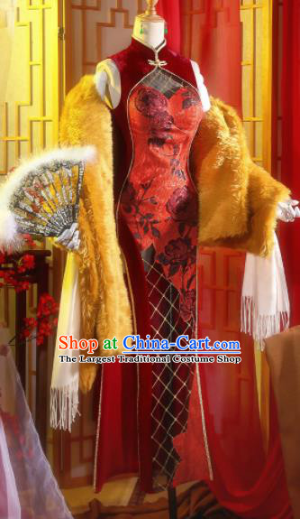 Chinese Traditional Cosplay Red Qipao Dress Ancient Swordsman Costumes for Women