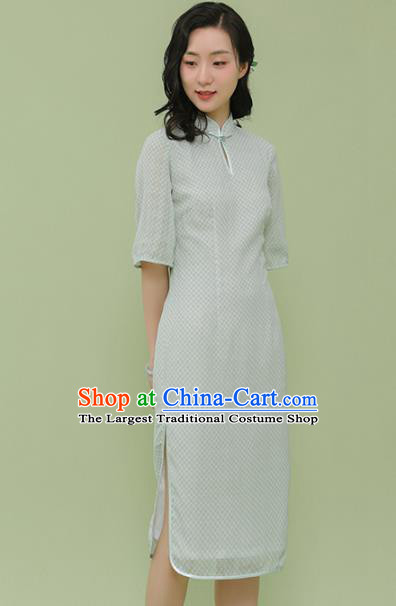 Republic of China Traditional Light Green Qipao Dress Chinese National Tang Suit Cheongsam Costumes for Women