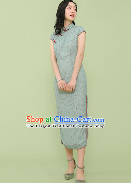 Republic of China Traditional Green Qipao Dress Chinese National Tang Suit Cheongsam Costumes for Women