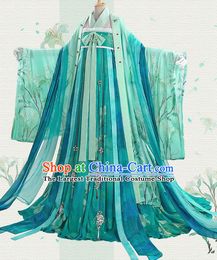 Chinese Traditional Cosplay Goddess Green Hanfu Dress Ancient Princess Costumes for Women