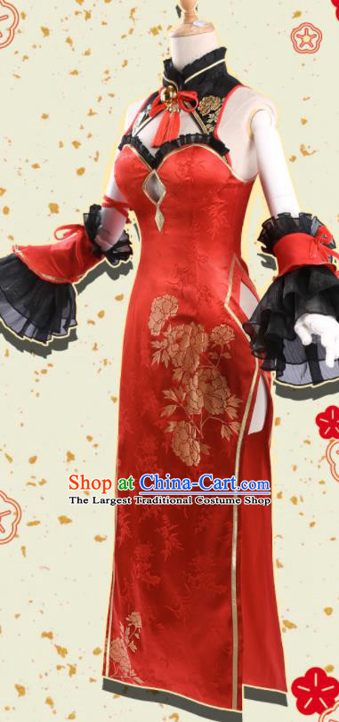 Chinese Traditional Cosplay Red Qipao Dress Ancient Swordswoman Costumes for Women