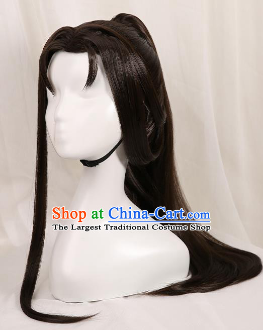 Chinese Traditional Cosplay Swordsman Black Wigs Ancient Knight Wig Sheath for Men