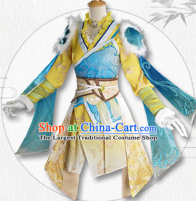 Chinese Traditional Cosplay Goddess Yellow Hanfu Dress Ancient Swordswoman Costumes for Women