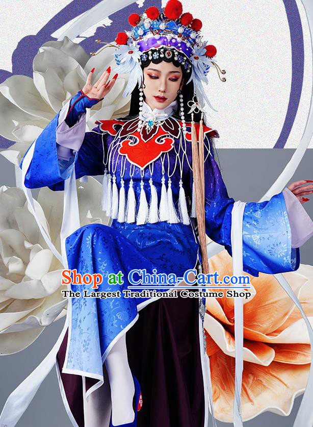 Chinese Traditional Cosplay Opera Blue Hanfu Dress Ancient Swordsman Costumes for Women