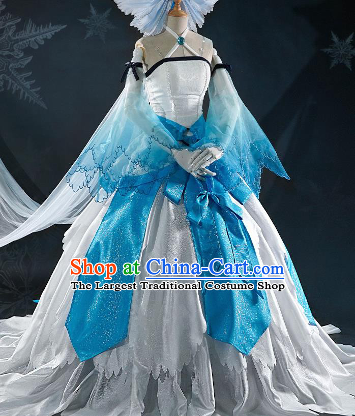 Chinese Traditional Cosplay Goddess White Dress Ancient Swordswoman Costumes for Women