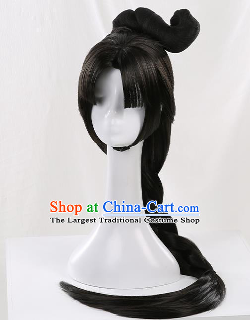 Chinese Traditional Cosplay Goddess Black Wigs Ancient Princess Wig Sheath for Women