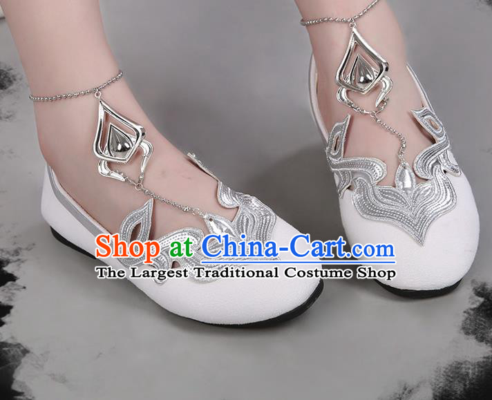 Chinese Traditional Hanfu White Shoes Ancient Princess Shoes for Women
