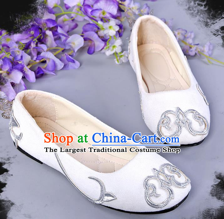 Chinese Traditional White Hanfu Shoes Ancient Princess Shoes for Women