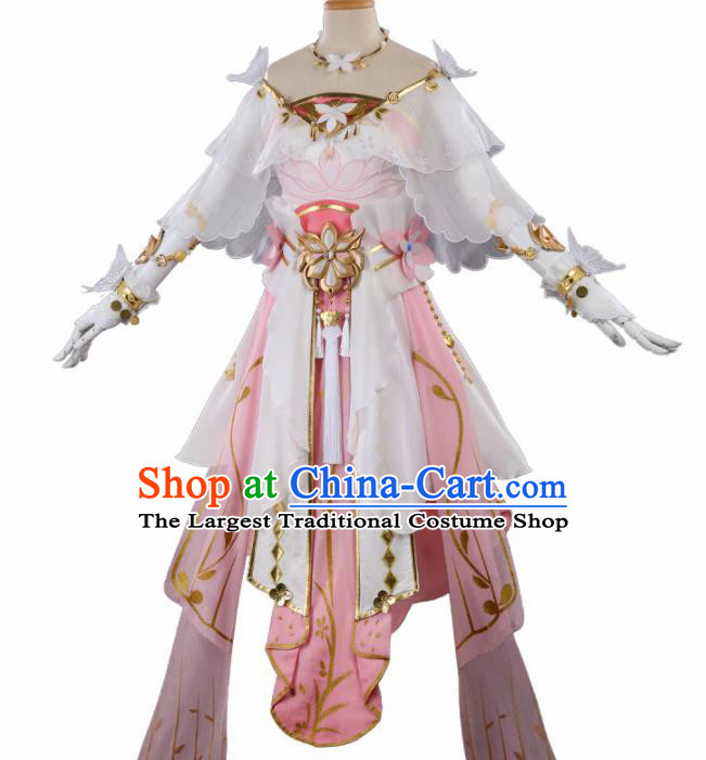 Chinese Cosplay Fairy Pink Hanfu Dress Traditional Ancient Female Swordsman Costumes for Women