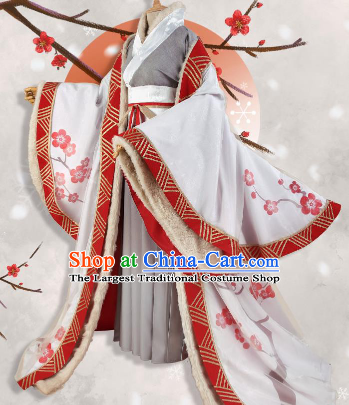Chinese Traditional Cosplay Goddess White Hanfu Dress Ancient Princess Costumes for Women