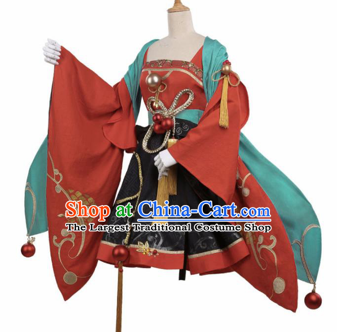 Chinese Traditional Cosplay Goddess Red Hanfu Dress Ancient Female Swordsman Costumes for Women