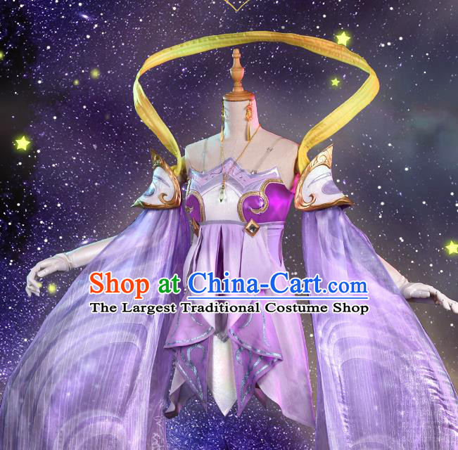 Chinese Traditional Cosplay Fairy Purple Hanfu Dress Ancient Female Swordsman Costumes for Women