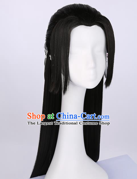 Chinese Traditional Cosplay Female Swordsman Black Wigs Ancient Princess Wig Sheath for Women
