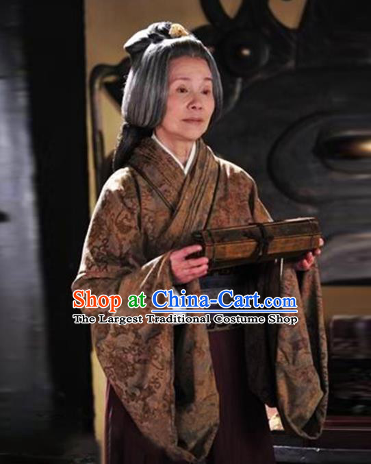 Chinese Traditional Qin Dynasty Dame Hanfu Dress Ancient Drama Dowager Countess Historical Costumes for Women
