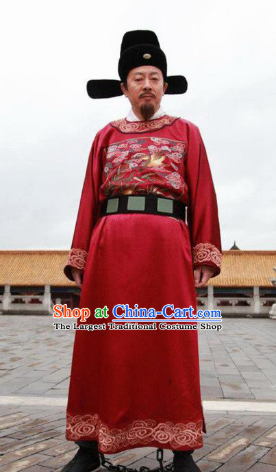 Chinese Traditional Ming Dynasty Minister Vestment Ancient Drama Official Historical Costumes for Men