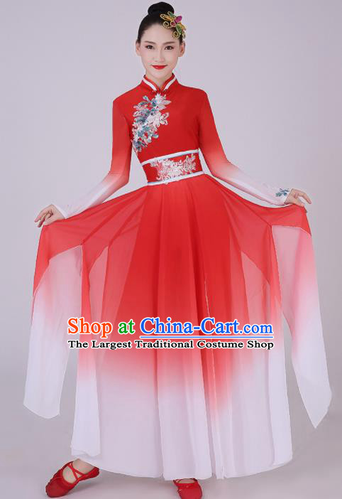 Chinese Traditional Classical Dance Red Dress Umbrella Dance Costume for Women