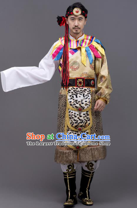 Chinese Traditional Zang Nationality Garment Tibetan Folk Dance Costume for Men