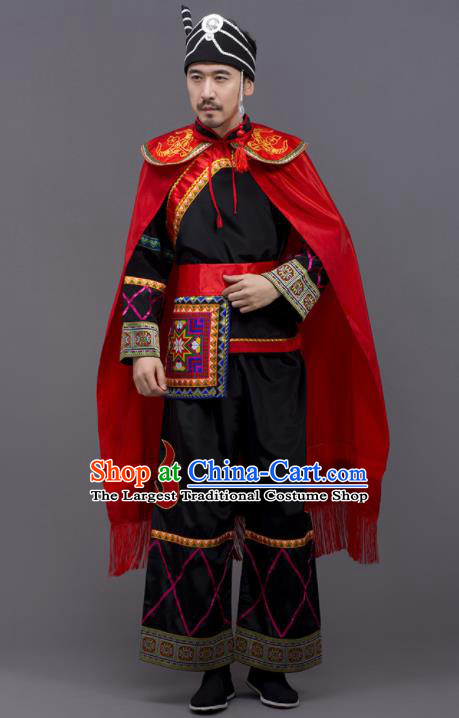 Chinese Traditional Yi Nationality Black Garment Ethnic Folk Dance Costume for Men