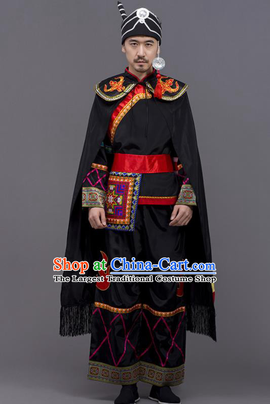 Chinese Traditional Yi Nationality Wedding Black Garment Ethnic Folk Dance Costume for Men