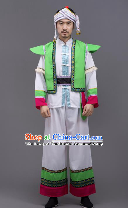 Chinese Traditional Zhuang Nationality Stage Show Garment Ethnic Folk Dance Costume for Men