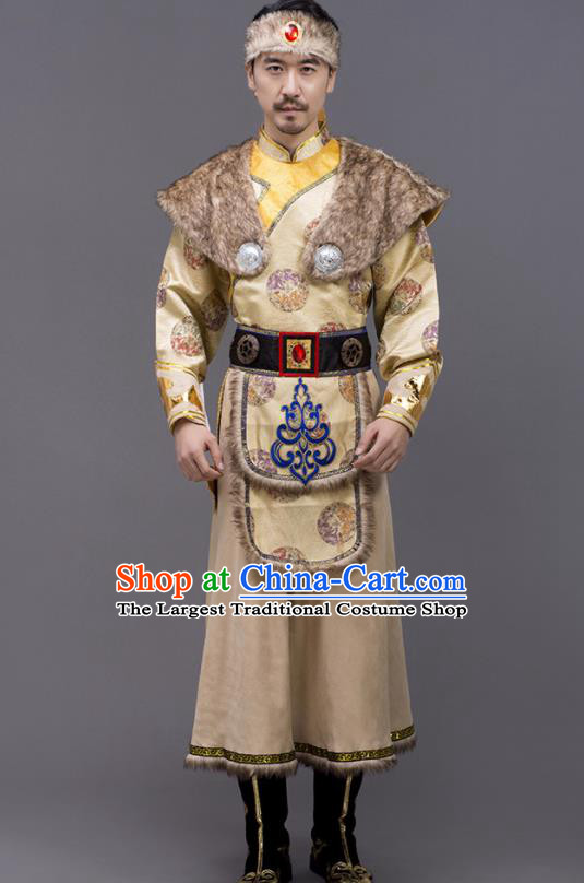Chinese Traditional Mongol Nationality Stage Show Ginger Garment Ethnic Folk Dance Costume for Men