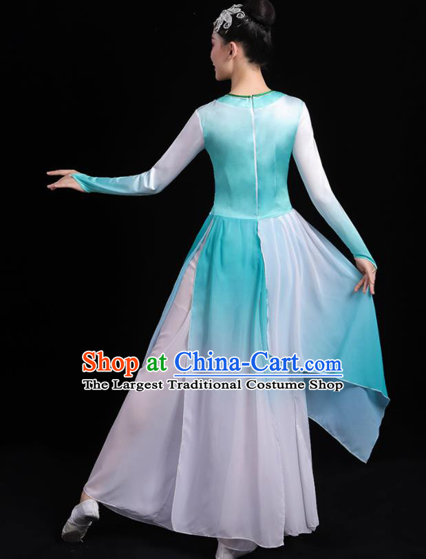 Chinese Traditional Classical Dance Blue Dress Umbrella Dance Stage Performance Costume for Women
