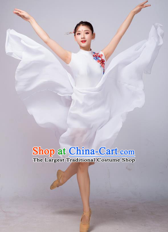 Chinese Traditional Classical Dance Ballet White Dress Umbrella Dance Stage Performance Costume for Women