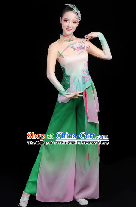 Chinese Traditional Fan Dance Green Outfits Classical Dance Stage Performance Costume for Women