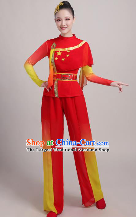 Chinese Traditional Drum Dance Red Outfits Folk Dance Stage Performance Costume for Women