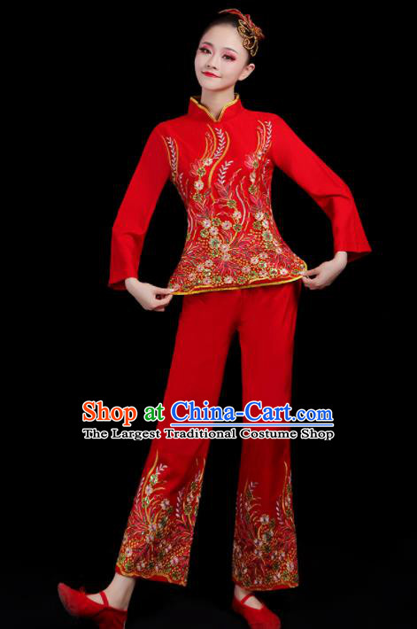 Chinese Traditional Yangko Dance Red Outfits Folk Dance Stage Performance Costume for Women
