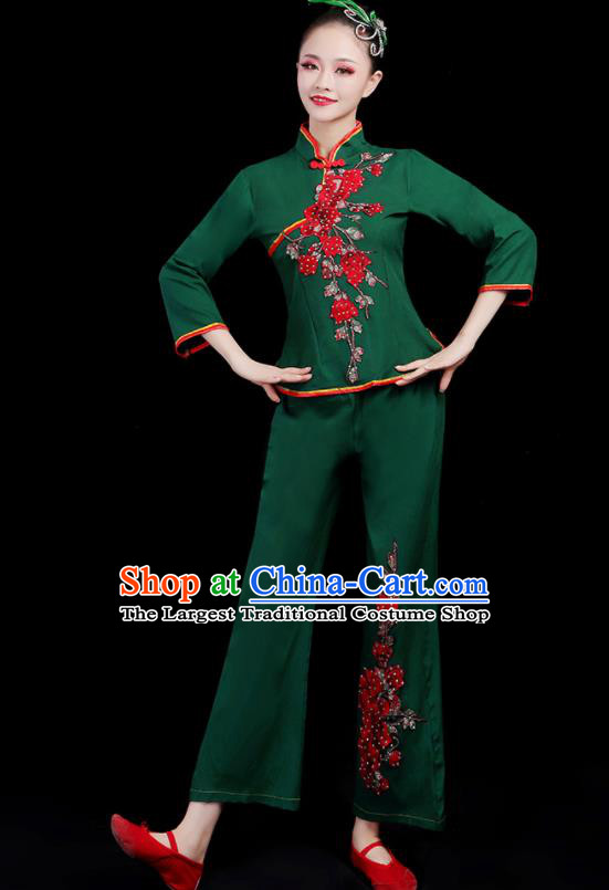Chinese Traditional Yangko Dance Fan Dance Green Outfits Folk Dance Stage Performance Costume for Women