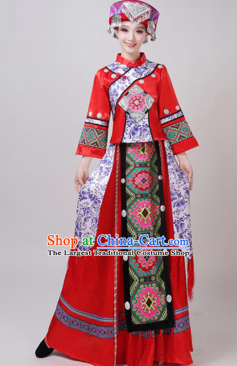 Chinese Traditional Tujia Nationality Red Dress Yi Ethnic Folk Dance Costume for Women