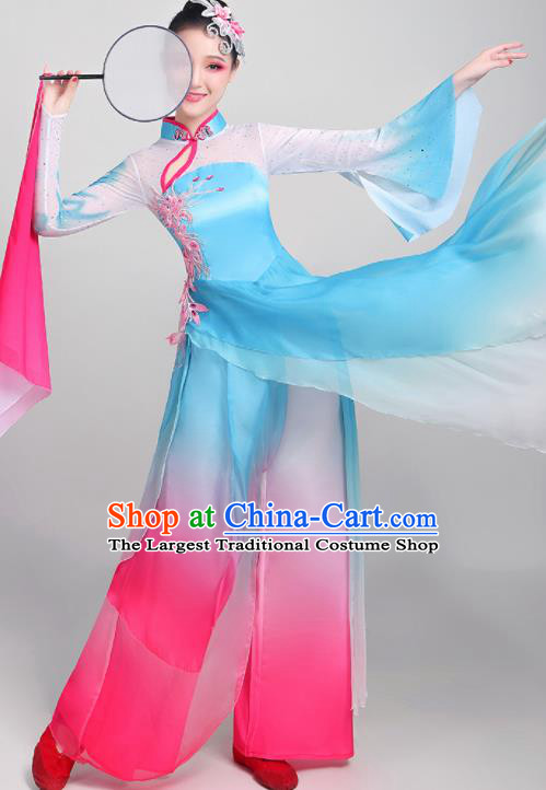 Chinese Traditional Umbrella Dance Fan Dance Blue Dress Classical Dance Stage Performance Costume for Women