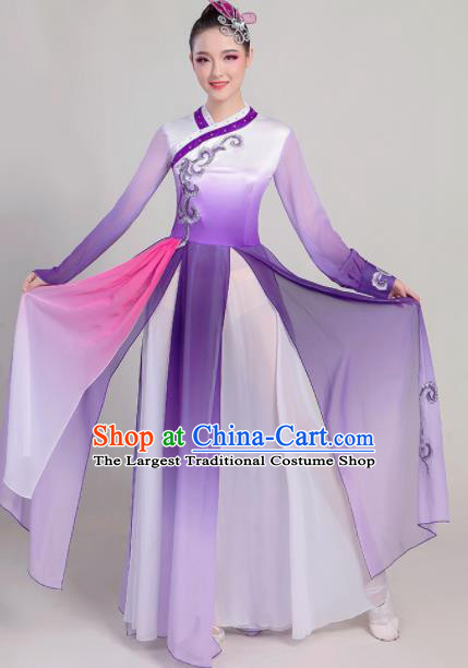 Chinese Traditional Fan Dance Purple Dress Classical Dance Stage Performance Costume for Women
