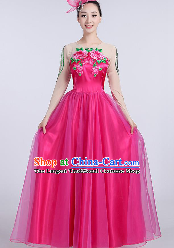 Chinese Traditional Fan Dance Rosy Dress Classical Dance Stage Performance Costume for Women