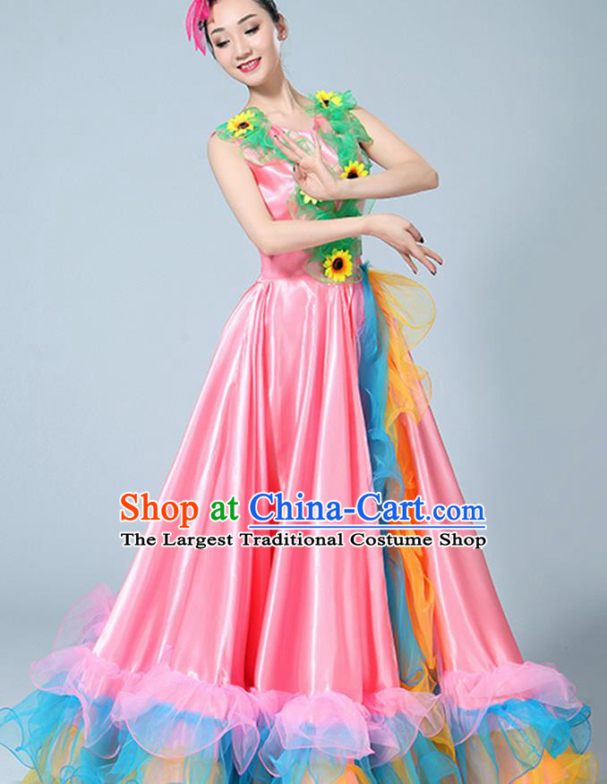Chinese Traditional Opening Dance Pink Dress Classical Dance Stage Performance Costume for Women