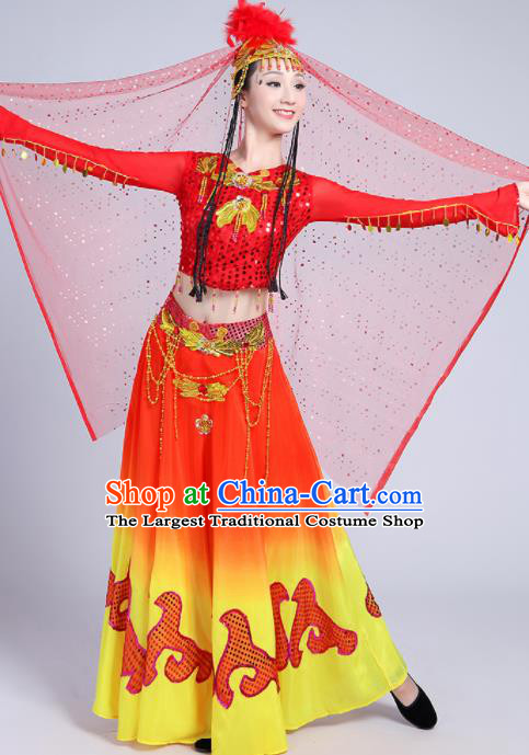 Chinese Traditional Uyghur Nationality Red Dress Uigurian Ethnic Folk Dance Costume for Women