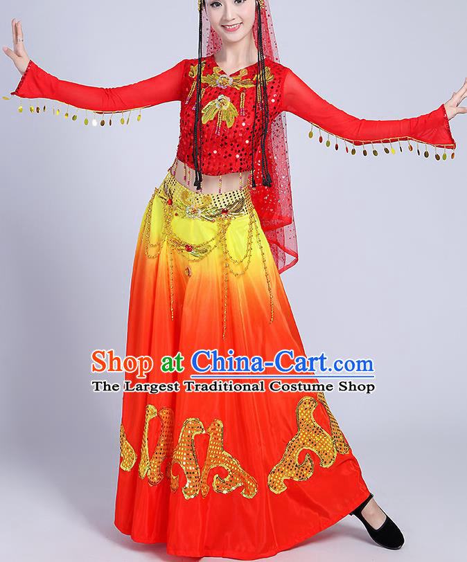 Chinese Traditional Uyghur Nationality Folk Dance Red Dress Uigurian Ethnic Costume for Women