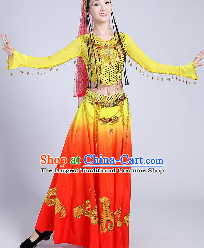 Chinese Traditional Uyghur Nationality Folk Dance Yellow Dress Uigurian Ethnic Costume for Women