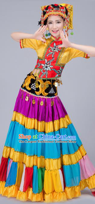 Chinese Traditional Yi Nationality Folk Dance Dress Ethnic Stage Show Costume for Women