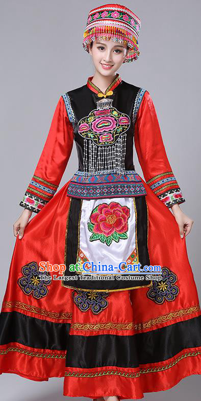 Chinese Traditional Yi Nationality Folk Dance Red Dress Ethnic Stage Show Costume for Women