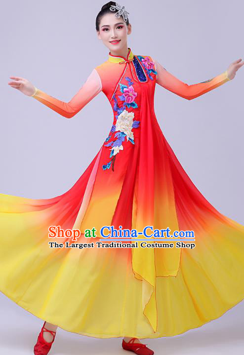 Chinese Traditional Umbrella Dance Fan Dance Red Dress Classical Dance Stage Performance Costume for Women