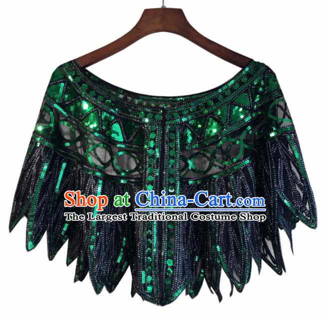 Top Professional Latin Dance Green Sequins Cloak Modern Dance Blouse Stage Performance Costume for Women