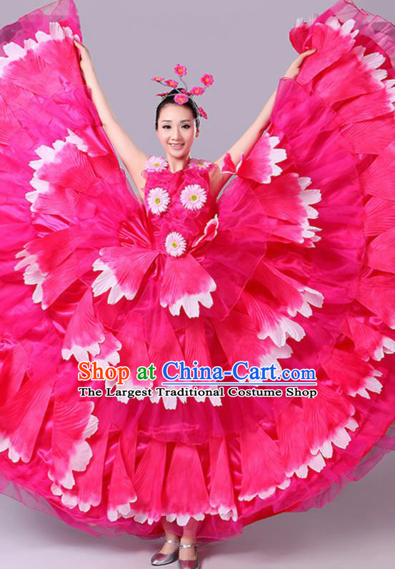 Chinese Traditional Peony Dance Fan Dance Rosy Dress Classical Dance Stage Performance Costume for Women