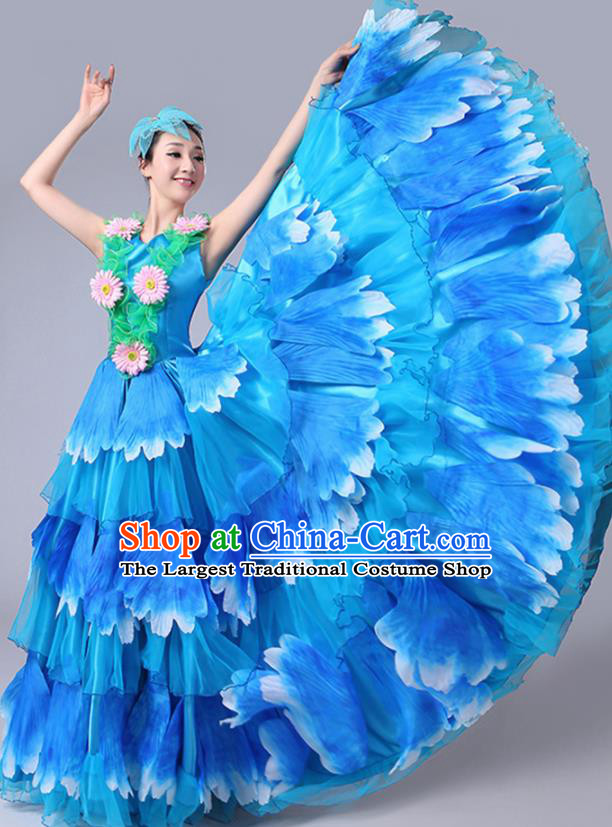 Chinese Traditional Peony Dance Fan Dance Blue Dress Classical Dance Stage Performance Costume for Women