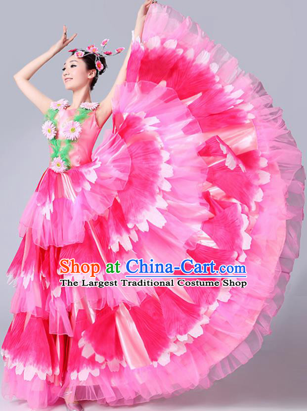 Chinese Traditional Peony Dance Fan Dance Pink Dress Classical Dance Stage Performance Costume for Women