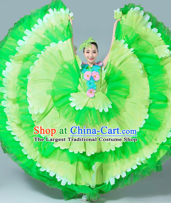 Chinese Traditional Peony Dance Fan Dance Green Dress Classical Dance Stage Performance Costume for Women
