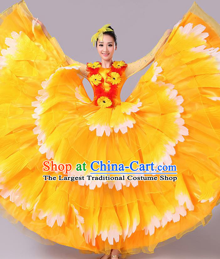 Chinese Traditional Peony Dance Fan Dance Orange Dress Classical Dance Stage Performance Costume for Women