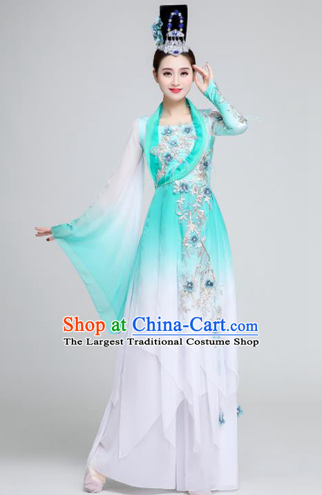 Chinese Traditional Classical Dance Fan Dance Green Dress Umbrella Dance Stage Performance Costume for Women